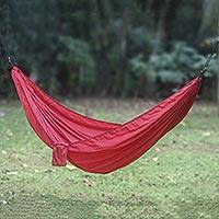 Parachute hammock, 'Uluwatu Wine' (double) - Maroon Parachute Hammock with Hanging Accessories (Double)
