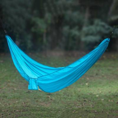 Parachute hammock, 'Uluwatu Turquoise' (double) - Parachute Hammock in Aqua Color Hook Rope Included (Double)