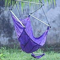 Parachute hammock chair, 'Nusa Dua Purple' - Parachute Hammock Purple Swing Portable Hanging Chair