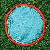 Parachute flying disc, 'Java Aqua' - Aqua and Orange Flying Disc Hand Crafted of Parachute Silk