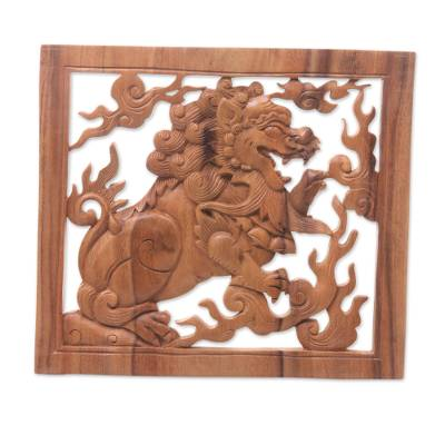 Wood relief panel, 'Balinese Lion' - Hand Carved Balinese Suar Wood Relief Panel