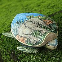 Wood jewelry box, 'Turtle and Elephant' - Hand Carved and Painted Turtle Box with Elephant Motif