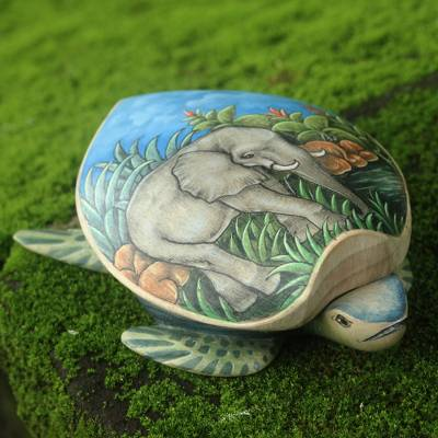 Wood jewelry box, Turtle and Elephant