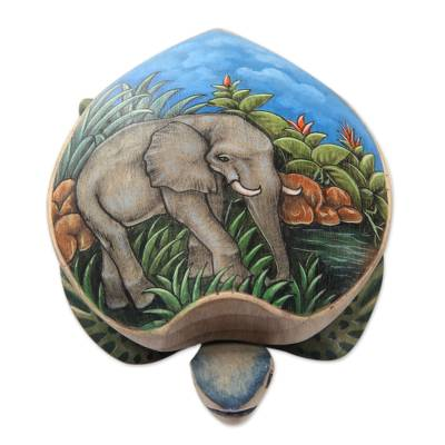 Hand Carved and Painted Turtle Box with Elephant Motif