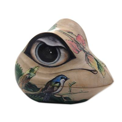 Wood jewelry box, 'Ubud Frog' - Frog Sculpture Hand Painted Box