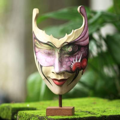 Wood mask, 'Mysterious Woman' - Hand Painted Modern Balinese Mask and Stand