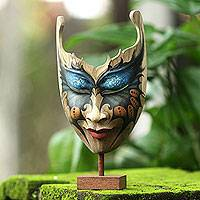 Wood mask, 'Queen of the Butterflies' - Butterfly Theme Balinese Hibiscus Wood Mask