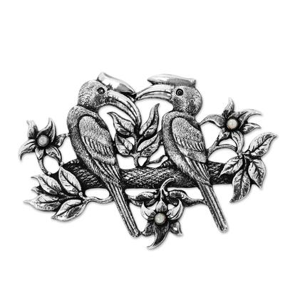 Cultured pearl brooch, 'Borneo Hornbill' - Balinese Sterling Silver and Cultured Pearl Bird Brooch