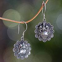 Sterling silver dangle earrings, 'Rangda's Smile' - Balinese Evil Queen Earrings in Sterling Silver Jewelry