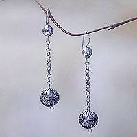 Sterling silver dangle earrings, 'Bali Swing'