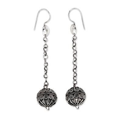 Sterling silver dangle earrings, 'Bali Swing' - Fair Trade Jewelry Artisan Crafted Sterling Silver Earrings