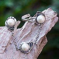 Cultured pearl flower harem bracelet with ring, 'Maritime Dancer' - 925 Silver Jewelry Set Pearl Shell Harem Bracelet and Ring