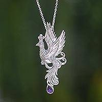 Amethyst pendant necklace, 'Peacock in Flight'