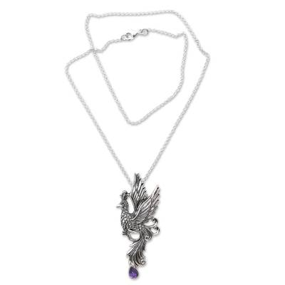 Amethyst pendant necklace, 'Peacock in Flight' - Bird Theme Sterling Silver Necklace with Amethyst