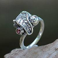 Tourmaline single stone ring, 'Mangosteen' - Artisan Crafted Tourmaline and Silver Ring