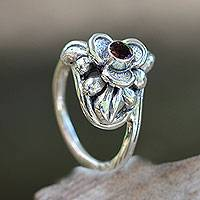 Tourmaline flower ring, 'Ubud Orchid' - Tourmaline and Silver Handcrafted Floral Ring