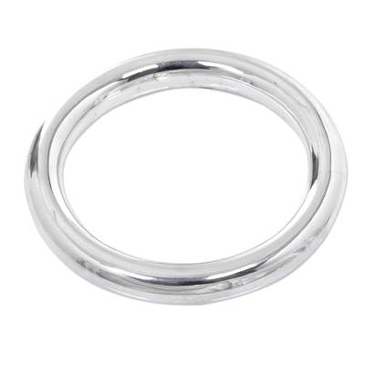 Sterling silver bangle bracelet, 'Unlimited Shine' - Handcrafted Sterling Silver Minimalist Bangle Bracelet
