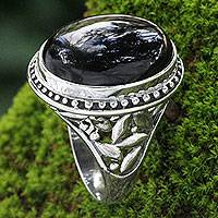 Onyx ring, 'Black Bamboo' - Onyx and Silver Ring from Indonesia