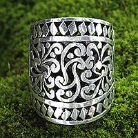Sterling silver cocktail ring, 'Sangeh Forest'