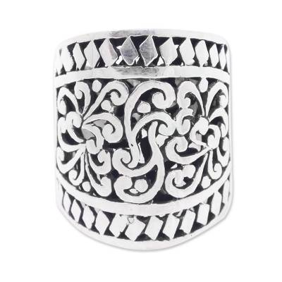 Sterling silver cocktail ring, 'Sangeh Forest' - Wide Artisan Crafted Ornate Sterling Band Ring