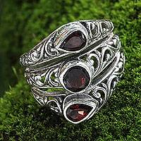 Garnet cocktail ring, 'Three Loves'