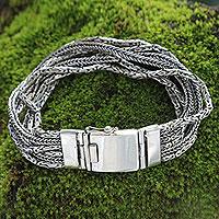 Sterling silver chain bracelet, 'Borobudur Voyage'