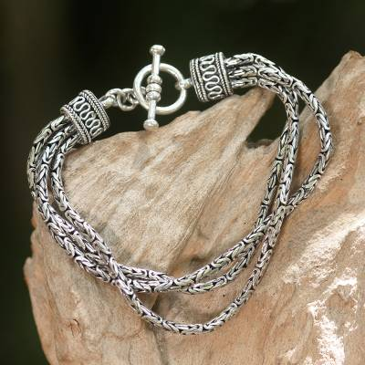 Sterling silver braided bracelet, 'Fountainhead' - Handcrafted Sterling Silver Braided Bracelet