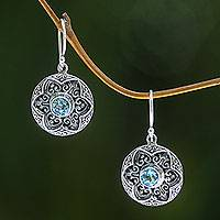 Blue topaz flower earrings, 'Azure Lotus' - Blue Topaz Handcrafted Flower Earrings in Sterling Silver