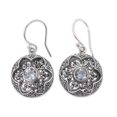 Blue Topaz Handcrafted Flower Earrings in Sterling Silver