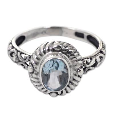 Blue topaz cocktail ring, 'Saba Sea Song' - Faceted Blue Topaz Sterling Silver Fair Trade Ring