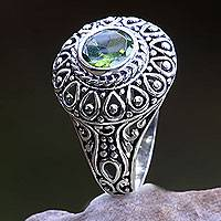 Peridot cocktail ring, 'Jatiluwih' - Sterling Silver and Peridot Bali Artisanal Ring