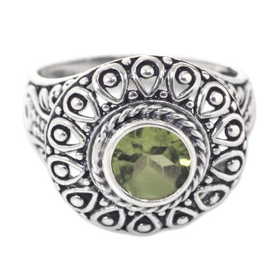 Peridot cocktail ring, 'Jatiluwih' - Sterling Silver and Peridot Bali Artisanal Ring