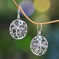 Blue topaz dangle earrings, 'Dancing Dragonflies' - Blue Topaz Handcrafted Balinese Sterling Silver Earrings