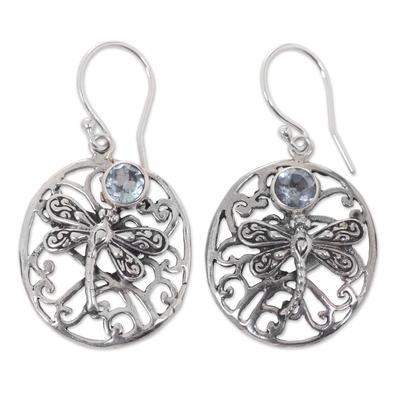 Blue topaz dangle earrings, 'Dancing Dragonflies' - Blue Topaz Handcrafted Balinese Sterling Silver Earrings