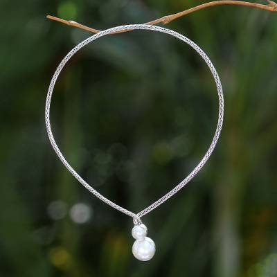 Cultured pearl necklace, 'Moon's Reflection' - Modern Bali Silver Necklace with Two White Mabe Pearls