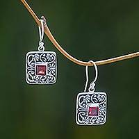 Garnet dangle earrings, 'Red Lotus Pond' - Garnet Handcrafted Balinese Sterling Silver Earrings