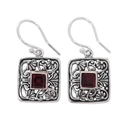 Garnet dangle earrings, 'Red Lotus Pond' - Garnet Handcrafted Balinese Sterling Silver Earrings