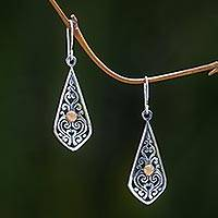 Gold accent dangle earrings, 'Into the Light' - Artisan Crafted 18k Gold Accent Balinese Silver Earrings