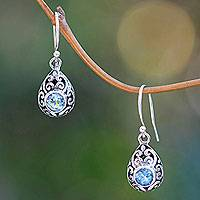 Blue topaz dangle earrings, 'Balinese Scarab' - Balinese Handcrafted Blue Topaz and Sterling Silver Earrings