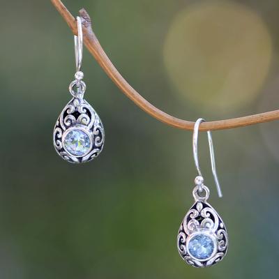 Blue topaz dangle earrings, 'Balinese Scarab' - Balinese Handcrafted Blue Topaz and Sterling Silver Earrings