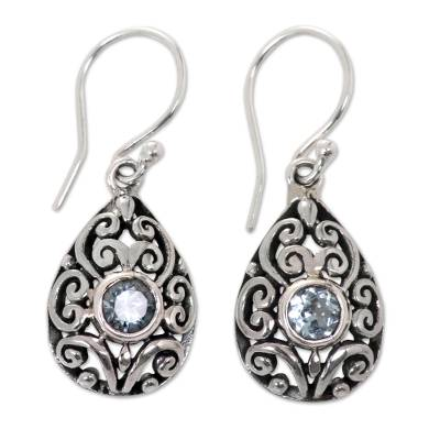 Blue topaz dangle earrings, 'Balinese Scarab' (1.2 inches) - Balinese Ornate Silver Handcrafted Blue Topaz Earrings