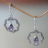 Amethyst dangle earrings, 'Flower Halo'
