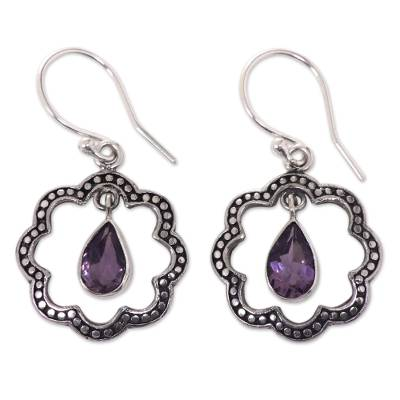 Amethyst dangle earrings, 'Flower Halo' - Floral Fair Trade Silver Earrings with Amethyst