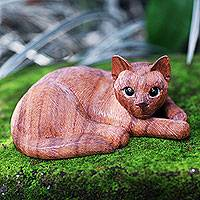 Wood sculpture, 'Sweet Ginger Tabby'