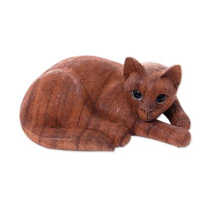 Hand Carved and Painted Cat Sculpture in Wood