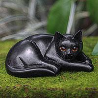 Wood sculpture, 'Lazy Black Cat' - Artisan Carved Black Cat Wood Sculpture