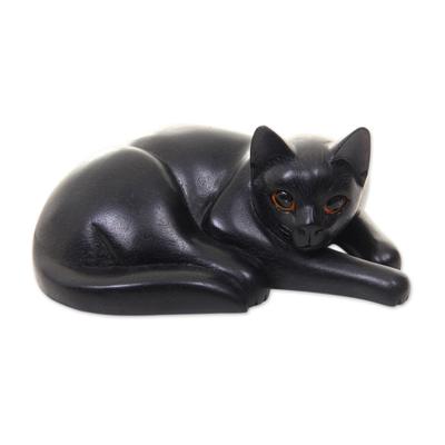 Artisan Carved Black Cat Wood Sculpture