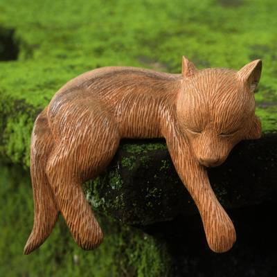 Wood sculpture, 'Shaggy Kintamani Dog' - Hand Carved and Painted Sleeping Dog Sculpture in Wood
