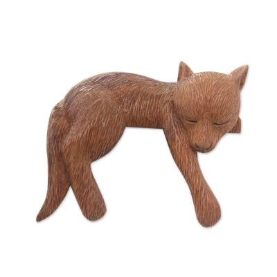 Hand Carved and Painted Sleeping Dog Sculpture in Wood
