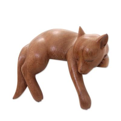Wood sculpture, 'Sleepy Kintamani Dog' - Artisan Carved Balinese Wood Sculpture of a Dog